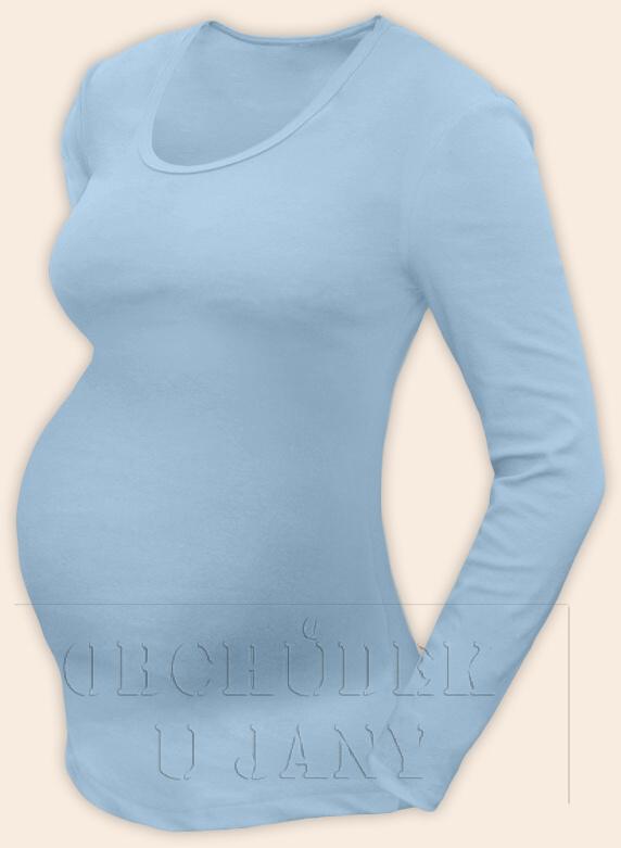 Těhotenské tričko dlouhý rukáv modré světlé