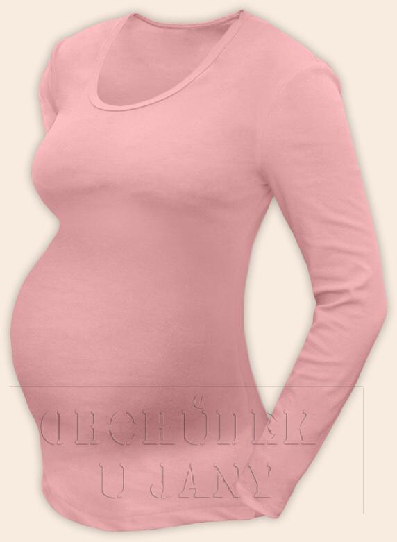 Těhotenské tričko dlouhý rukáv růžové světlé