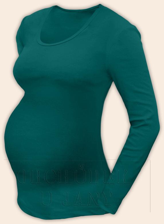 Těhotenské tričko dlouhý rukáv zelenomodré