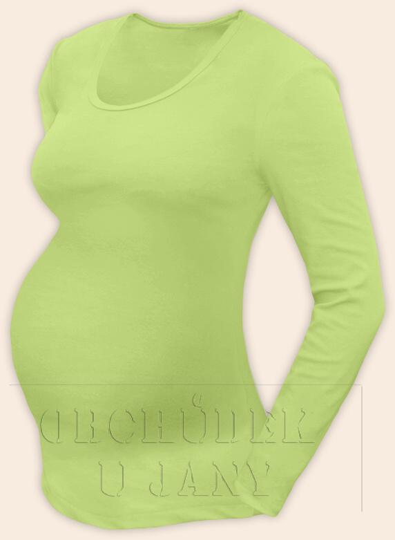 Těhotenské tričko dlouhý rukáv zelenkavé výstřih do V