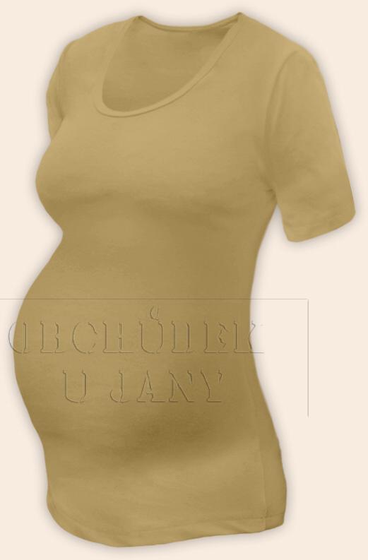 Těhotenské tričko krátký rukáv béžové