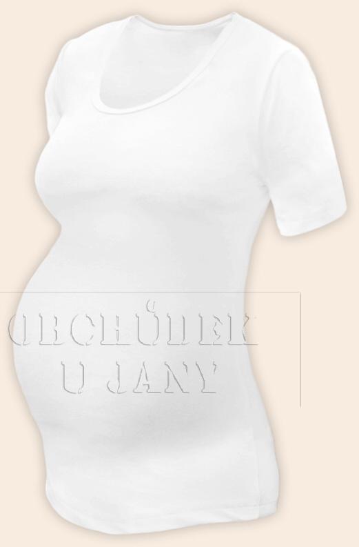 Těhotenské tričko krátký rukáv bílé