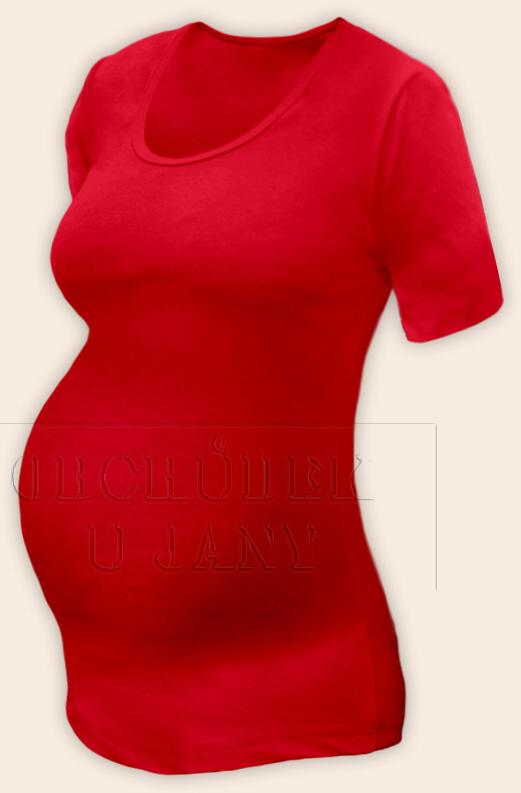 Těhotenské tričko krátký rukáv červené