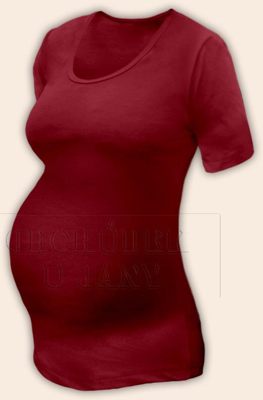 Těhotenské tričko krátký rukáv bordó