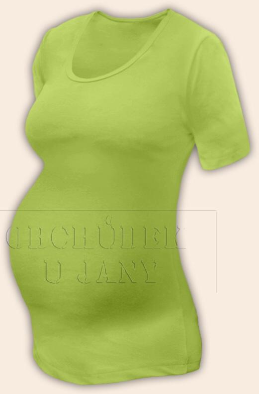 Těhotenské tričko krátký rukáv zelené hráškové
