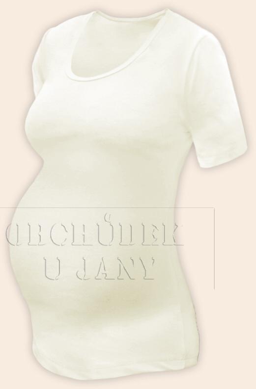 Těhotenské tričko krátký rukáv žluté máslové