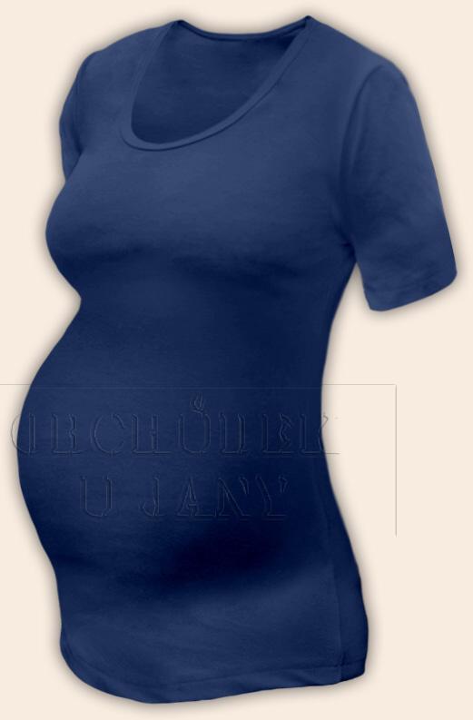 Těhotenské tričko krátký rukáv modré