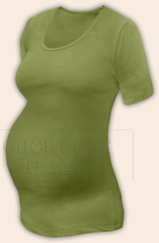 Těhotenské tričko krátký rukáv zelené olivové