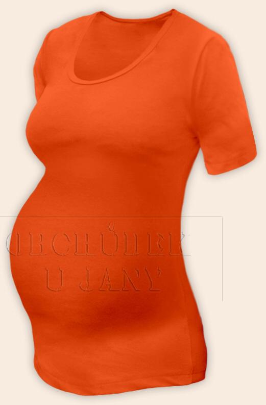 Těhotenské tričko krátký rukáv oranžové tmavé