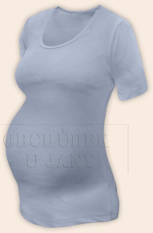 Těhotenské tričko krátký rukáv modré pomněnkové