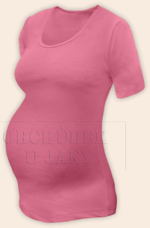 Těhotenské tričko krátký rukáv růžové