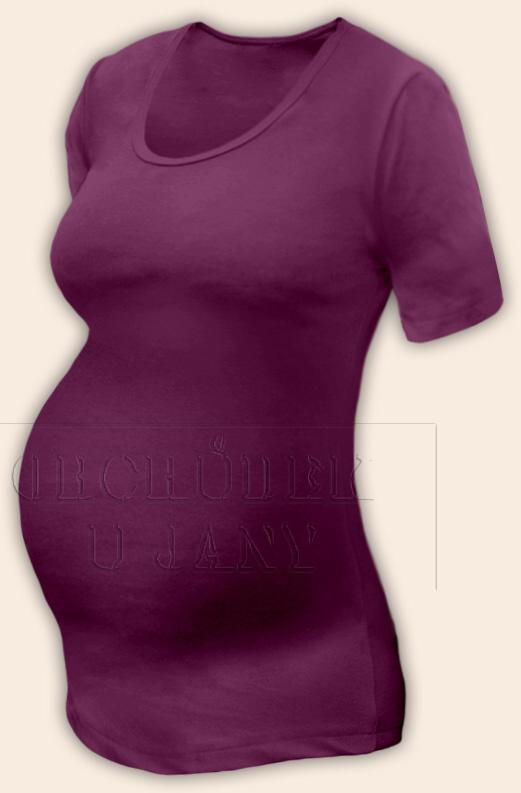 Těhotenské tričko krátký rukáv fialovo-růžové