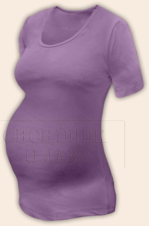 Těhotenské tričko krátký rukáv fialové šeříkové