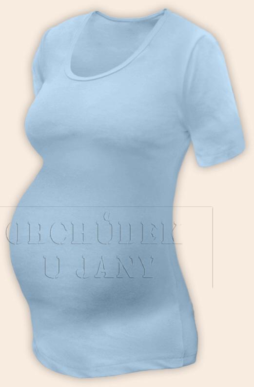 Těhotenské tričko krátký rukáv modré světlé