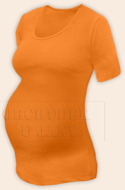 Těhotenské tričko krátký rukáv oranžové světlé