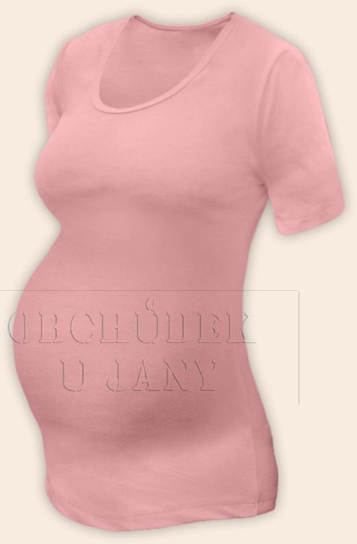 Těhotenské tričko krátký rukáv růžové světlé