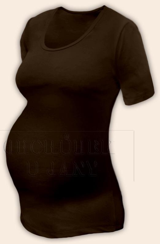 Těhotenské tričko krátký rukáv hnědé