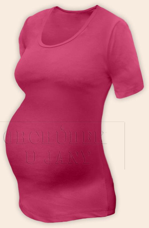Těhotenské tričko krátký rukáv růžové tmavé