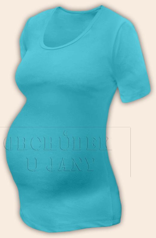 Těhotenské tričko krátký rukáv modré tyrkysové
