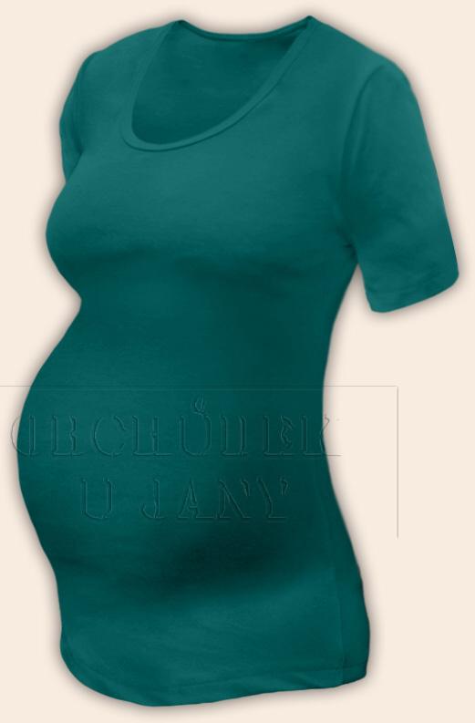 Těhotenské tričko krátký rukáv zelenomodré