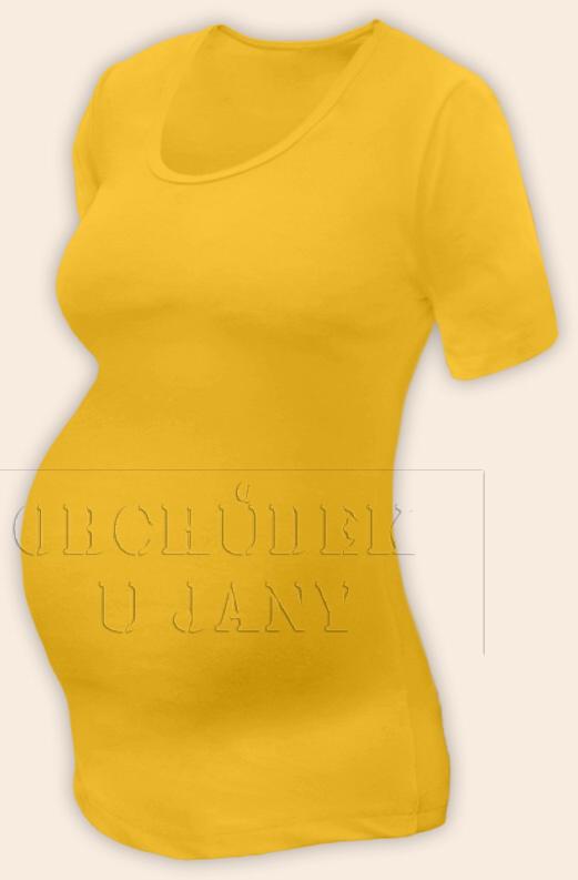 Těhotenské tričko krátký rukáv žluté