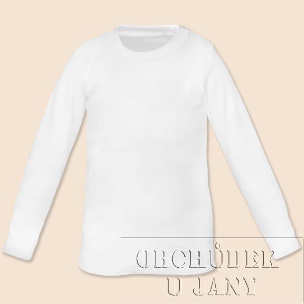 Dětské tričko dlouhý rukáv bílé