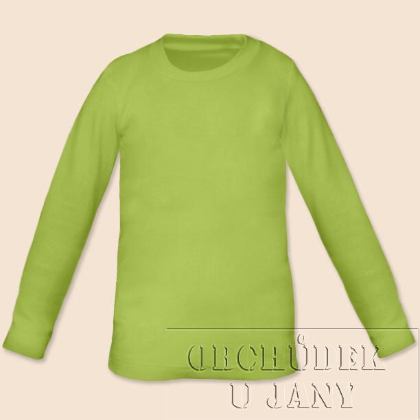 Dětské tričko dlouhý rukáv zelené hráškové
