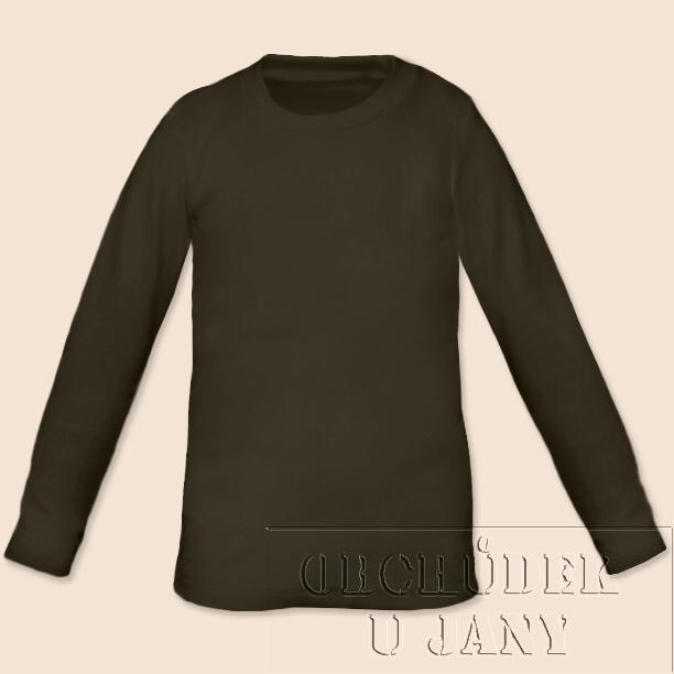 Dětské tričko dlouhý rukáv khaki