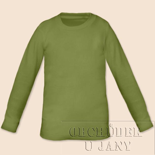 Dětské tričko dlouhý rukáv zelené olivové