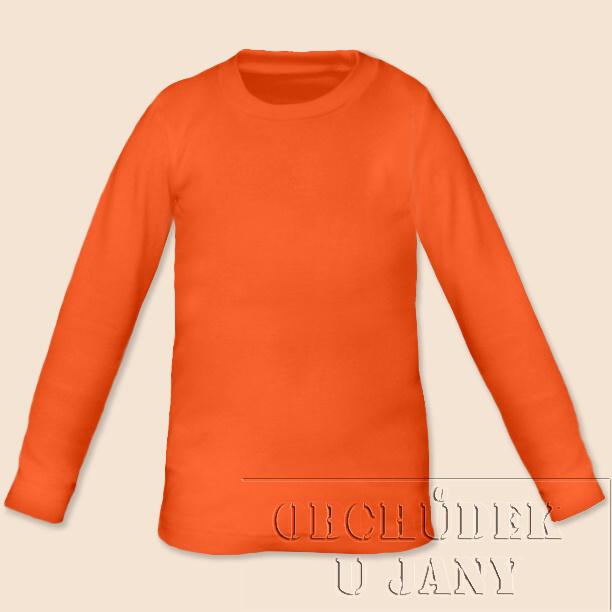 Dětské tričko dlouhý rukáv oranžové tmavé