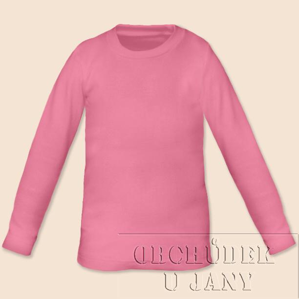 Dětské tričko dlouhý rukáv růžové