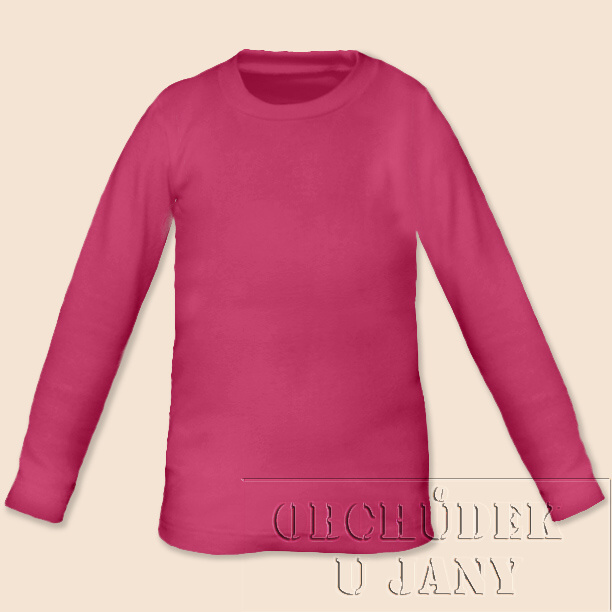 Dětské tričko dlouhý rukáv růžové tmavé