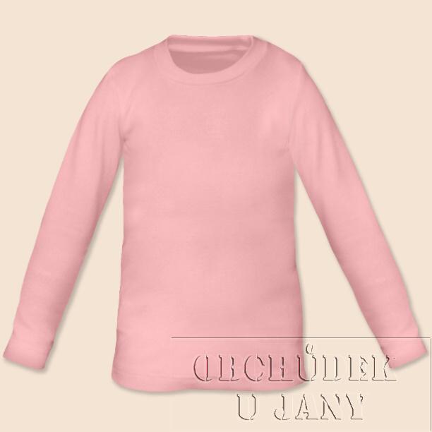 Dětské tričko dlouhý rukáv růžové světlé