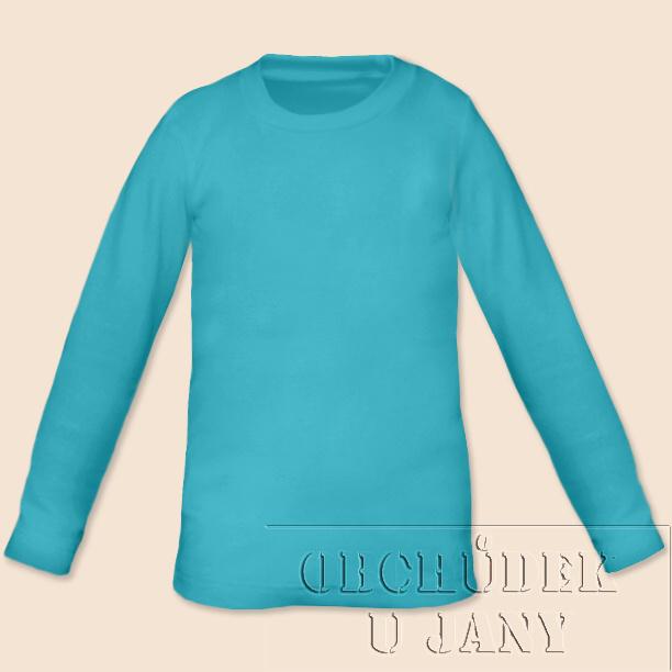 Dětské tričko dlouhý rukáv modré tyrkysové